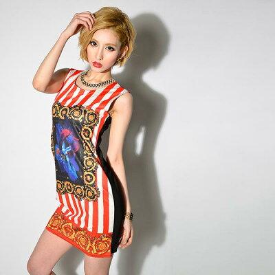 ドレス キャバ キャバドレス 流行のストライプでモードにきめる!デザインストレッチミニドレス パーティードレス :DazzyStore